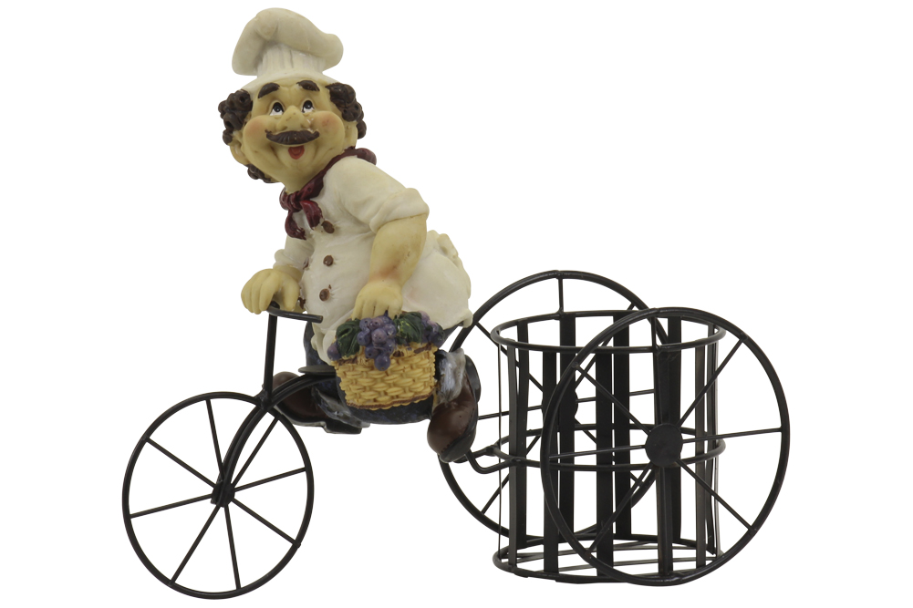 Image of Bistro Chef On A Bicycle Wine Bottle Holder - 9.5H x 11W in