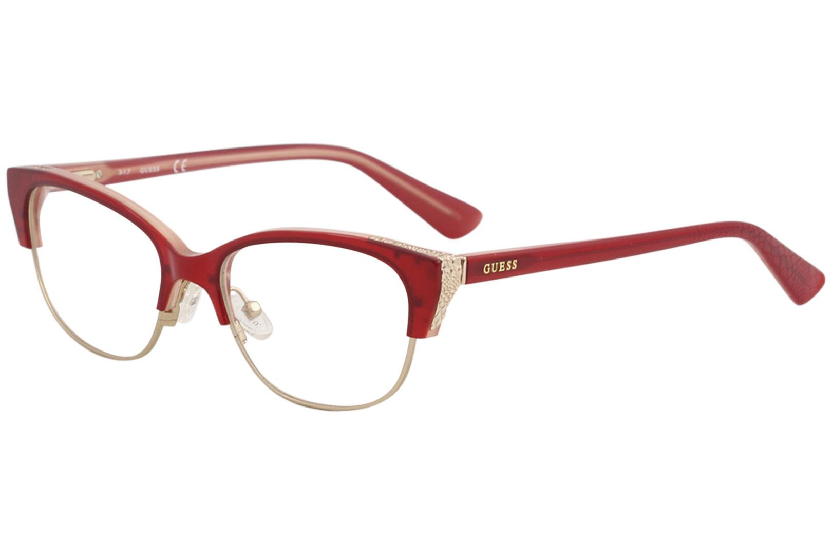 Image of Guess Women's Eyeglasses GU2590 GU/2590 068 Red/Gold Full Rim Optical Frame 52mm - Red - Lens 52 Bridge 17 Temple 135mm