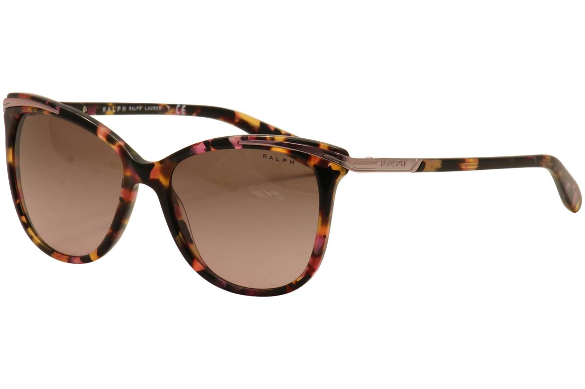 Image of Ralph By Ralph Lauren Women's RA5203 RA/5203 Fashion Cat Eye Sunglasses - Pink Marble/Brown Rose Gradient   146114 - Lens 54 Bridge 16 Temple 135mm