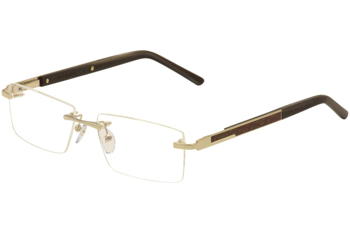 Image of Paul Vosheront Men's Eyeglasses PV 303B 303 B Rimless Optical Frame - 23 Karat Gold Plated/Wood   C1 - Lens 57 Bridge 17 Temple 145mm