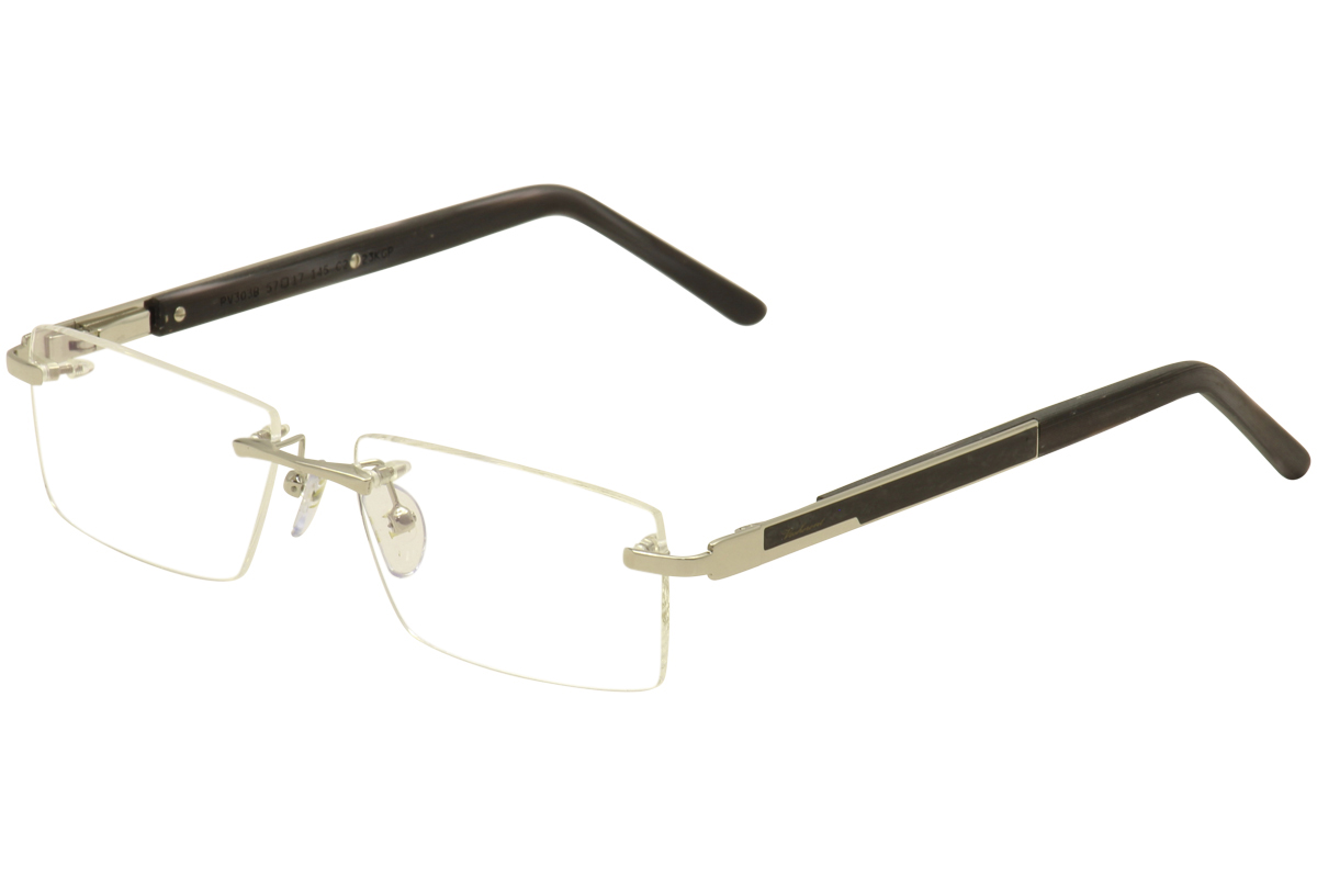 Image of Paul Vosheront Men's Eyeglasses PV 303B 303 B Rimless Optical Frame - Silver 23 Karat Gold Plated/Black   C2 - Lens 57 Bridge 17 Temple 145mm