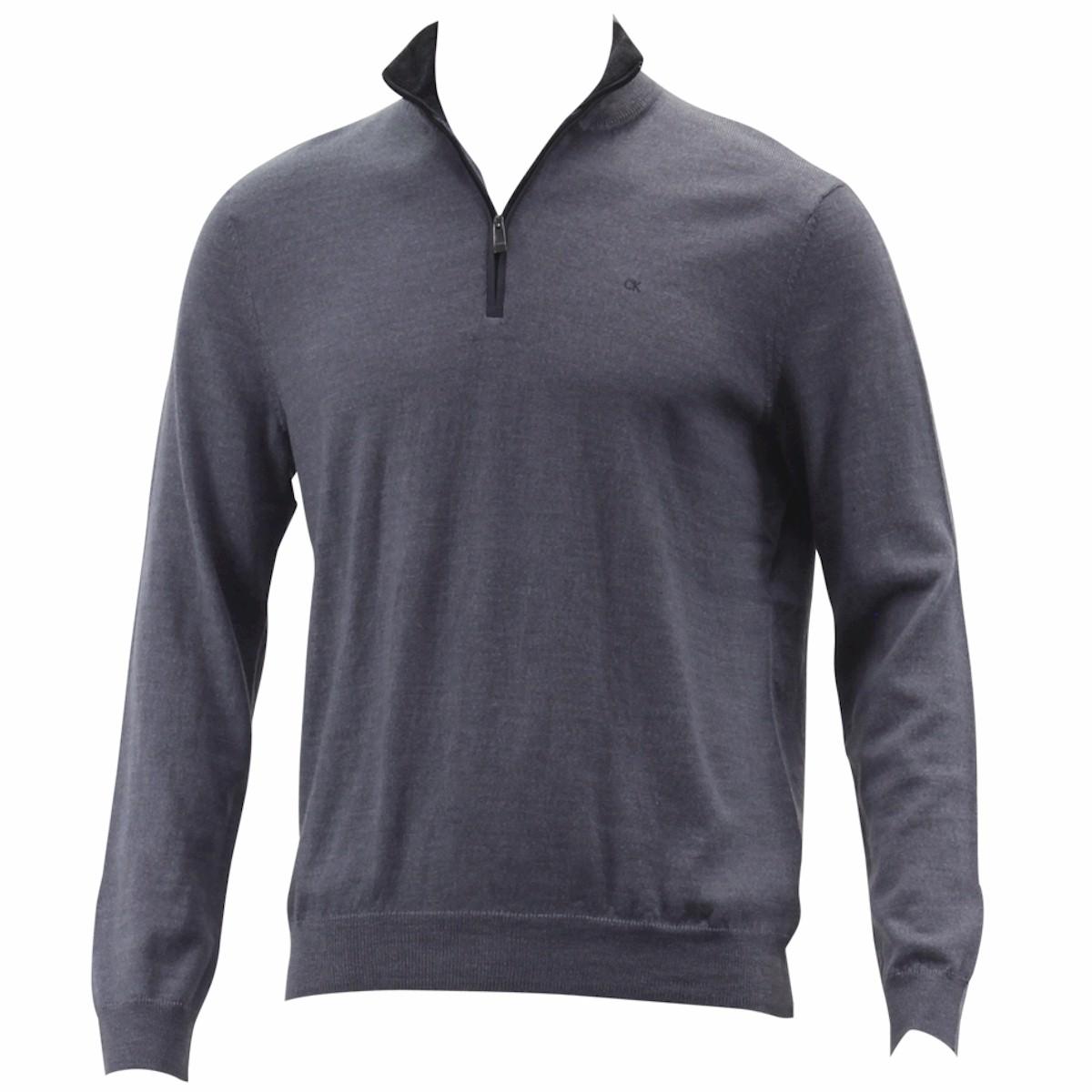 Calvin Klein Men s Merino End On End Long Sleeve 3 4 Zip Sweater Merino End On End; 401S304