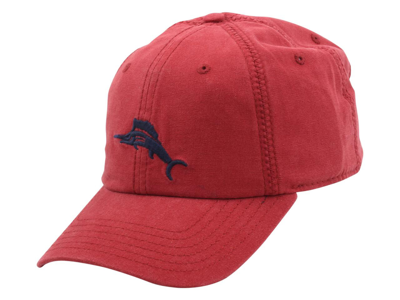 Image of Tommy Bahama Men's Strapback Cross Stitch Baseball Cap Hat - Brick - One Size Fits Most
