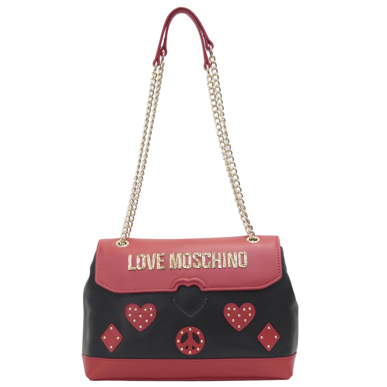 08fd0a0b9ad Love Moschino Women's Heart & Peace Patch Black/Red Crossbody ...