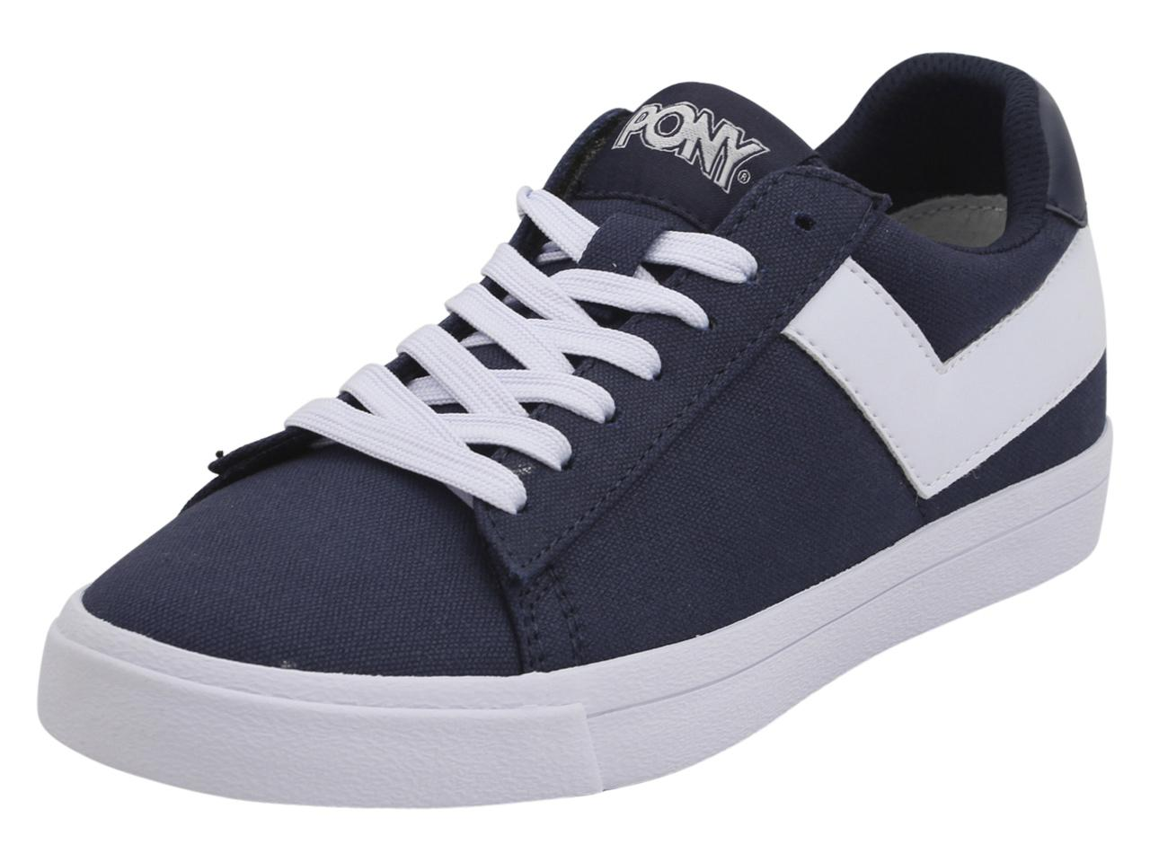 Image of Pony Women's Top Star Lo Core Canvas Sneakers Shoes - Blue - 7.5 B(M) US