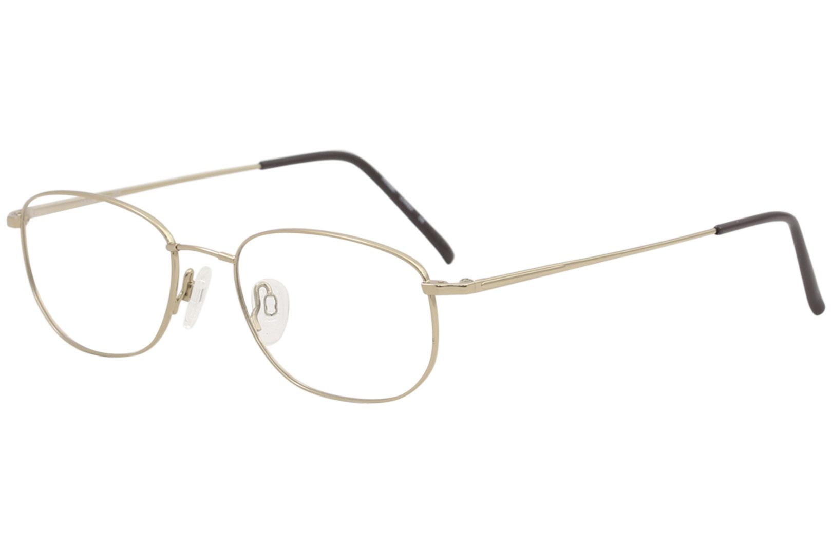 Image of Flexon Men's Eyeglasses 600 714 GEP/Gold Full Rim Optical Frame 54mm - GEP/Gold   714 - Lens 54 Bridge 18 Temple 145mm