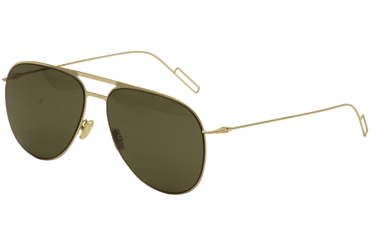 Image of Christian Dior Women's 0205/S 0205S Fashion Pilot Sunglasses - Gold/Grey Green   J5G/E4 - Lens 59 Bridge 15 Temple 150mm
