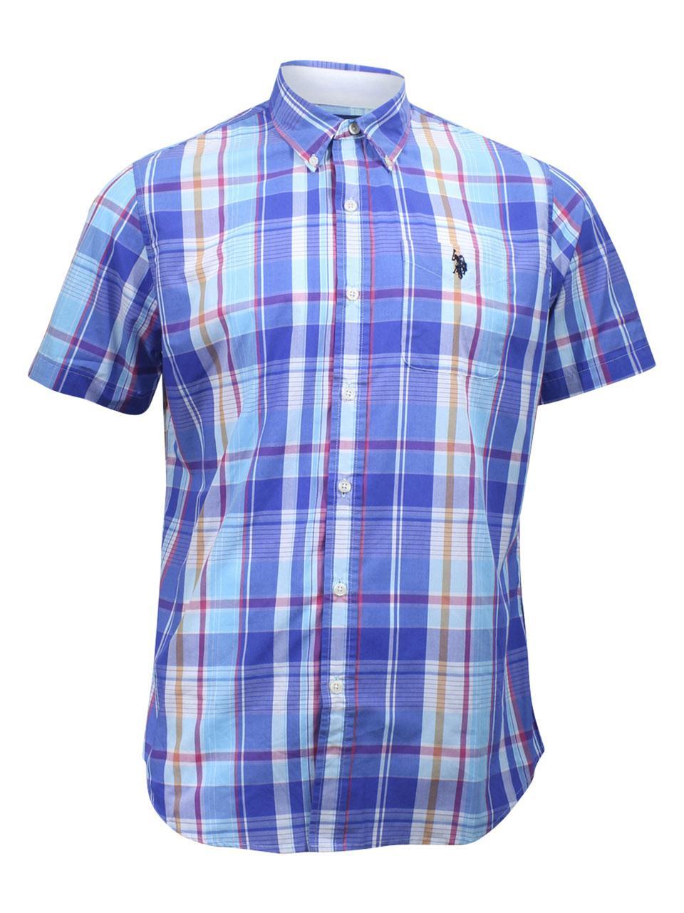 cba94755f16 U.S. Polo Association Men's Plaid Short Sleeve Button Down Shirt