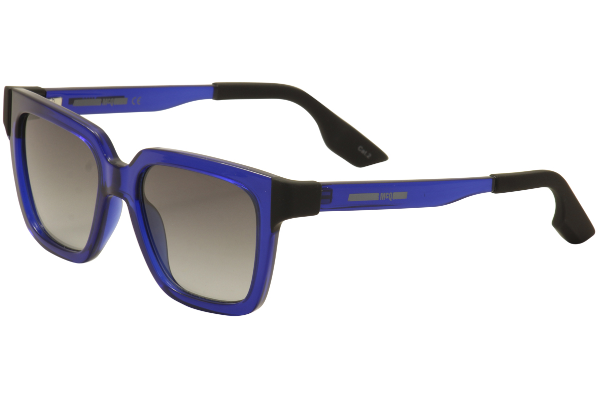 Image of McQueen By Alexander McQueen Women's MQ0014S 0014/S Fashion Sunglasses - Blue - Lens 51 Bridge 18 Temple 140mm
