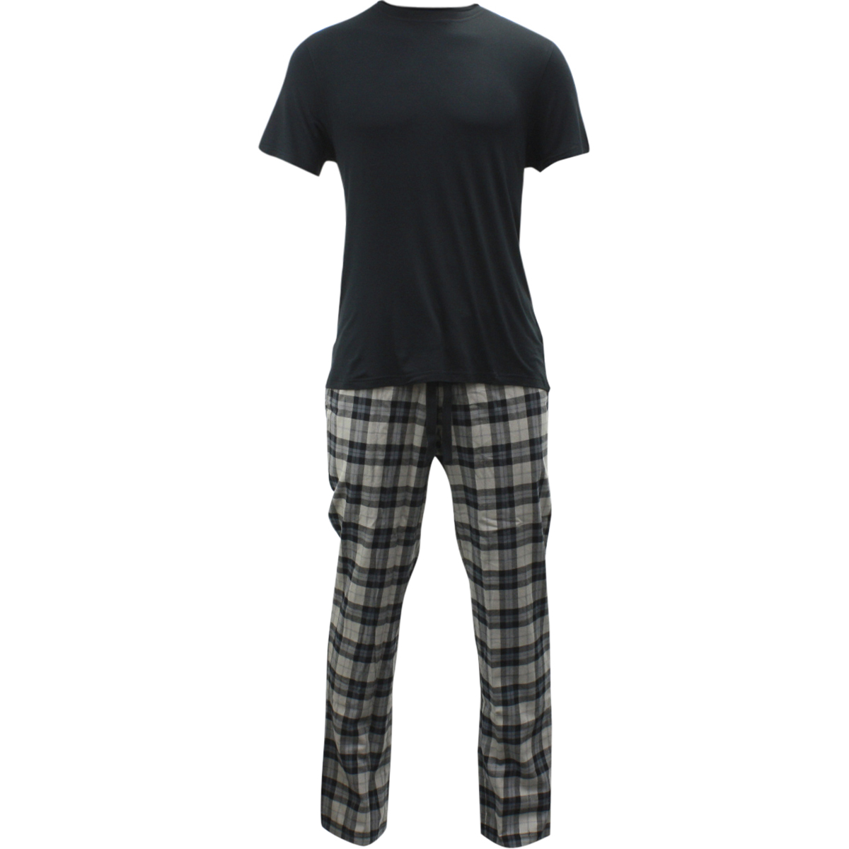 Image of Ugg Men's Grant Pants & Short Sleeve Shirt Pajama Set - Black - Large