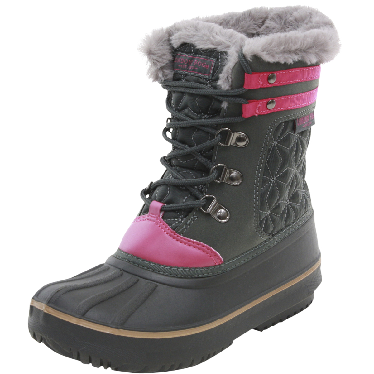 Image of London Fog Little/Big Girl's Chiswick Water Resistant Snow Boots Shoes - Grey - 12 M US Little Kid