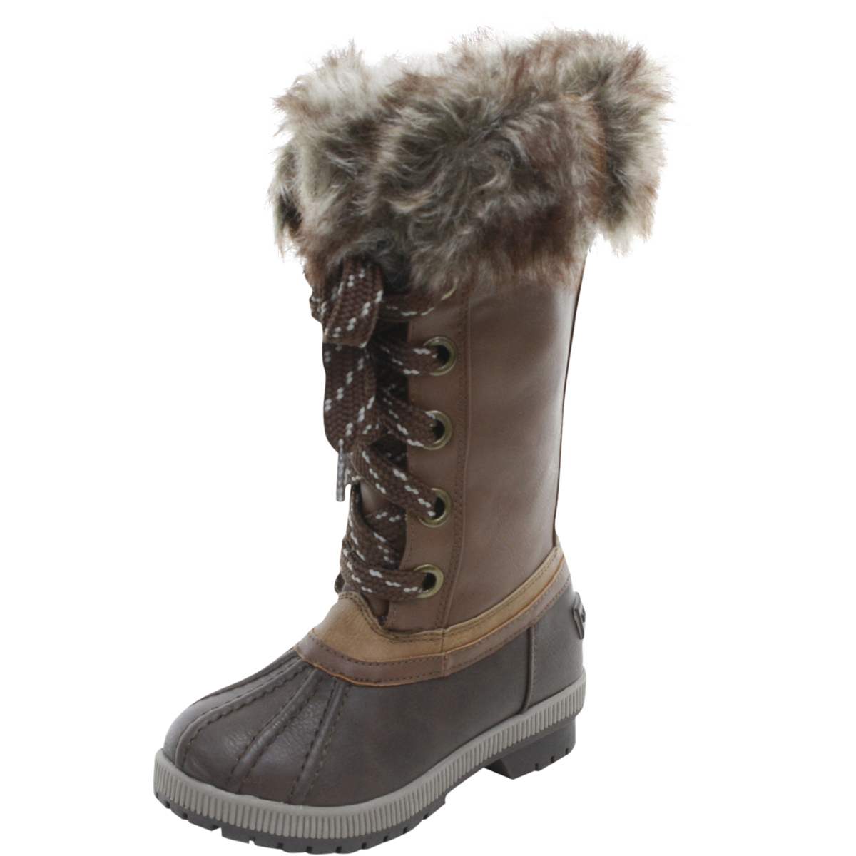 Image of London Fog Little/Big Girl's Melton Water Resistant Snow Boots Shoes - Brown - 12 M US Little Kid