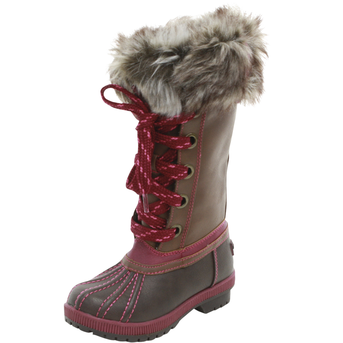 Image of London Fog Little/Big Girl's Melton Water Resistant Snow Boots Shoes - Dark Brown/Pink - 11 M US Little Kid