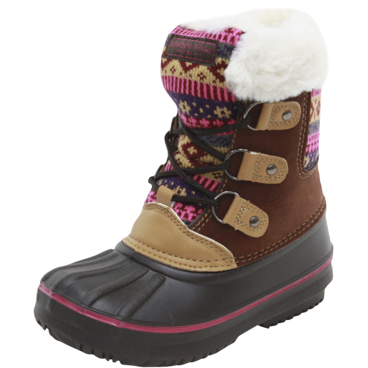 Image of London Fog Little/Big Girl's Tottenham Water Resistant Snow Boots Shoes - Brown - 12 M US Little Kid