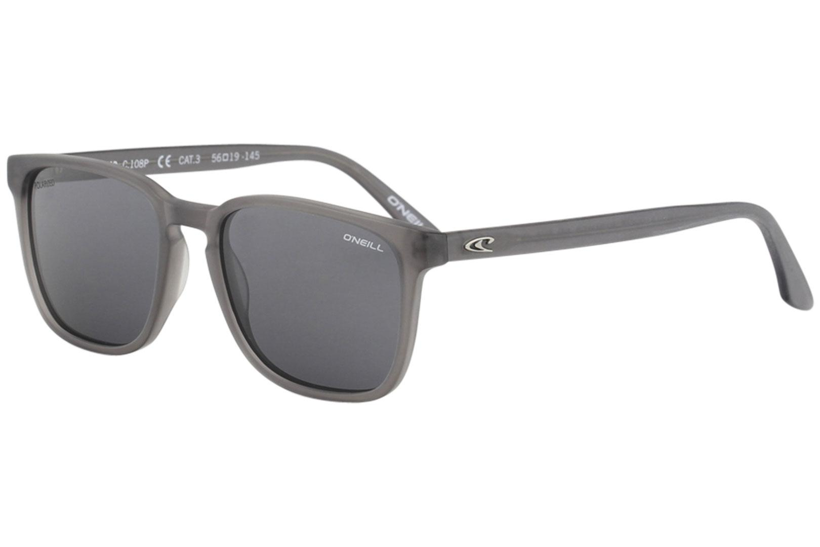 Image of O'Neill Men's Ons Chad Fashion Square Sunglasses - Crystal Grey/Grey Polarized   108 P - Lens 56 Bridge 19 Temple 145mm