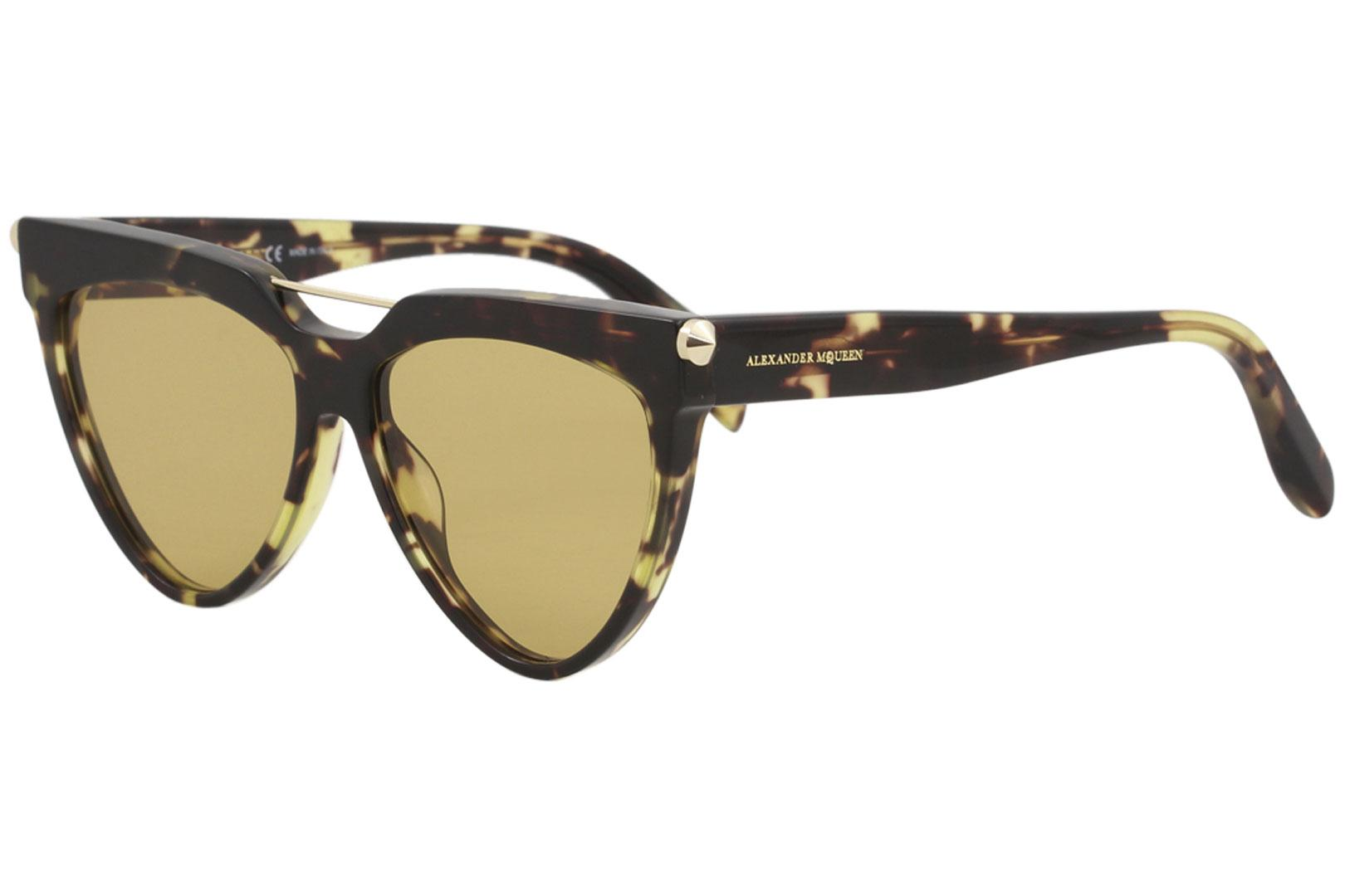 Image of Alexander McQueen Edge AM0087S AM/0087/S 001 Havana Pilot Sunglasses 58mm - Havana/Yellow   004 - Lens 58 Bridge 15 Temple 150mm