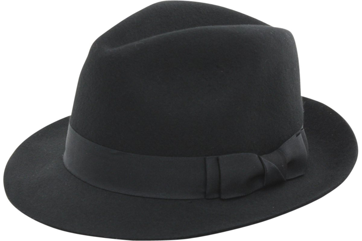 Image of Scala Classico Men's Wool Pinch Front Fedora Hat - Black - X Large