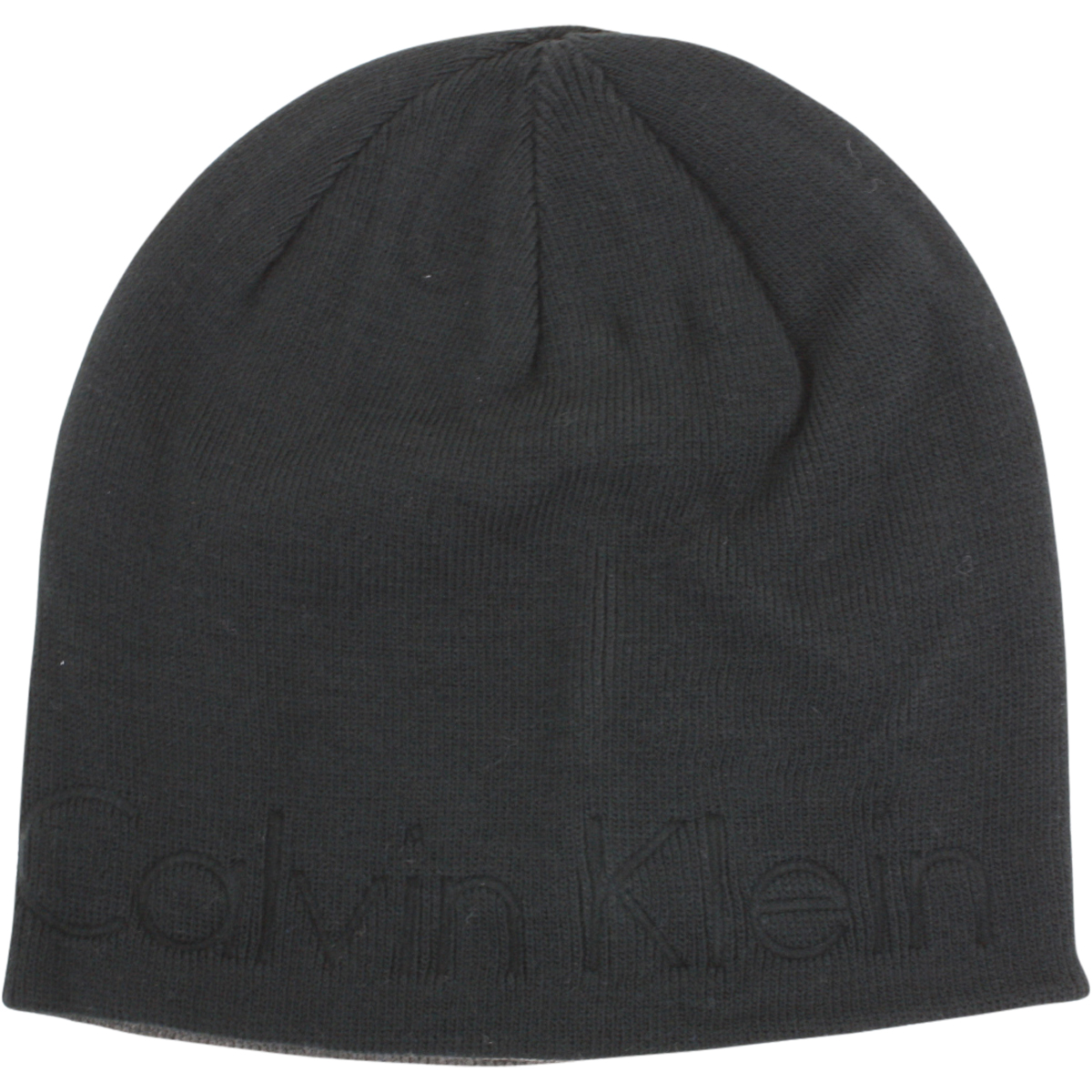 Image of Calvin Klein Men's Embossed Logo Beanie Cap Winter Hat (One Size Fits Most) - Black - One Size Fits Most