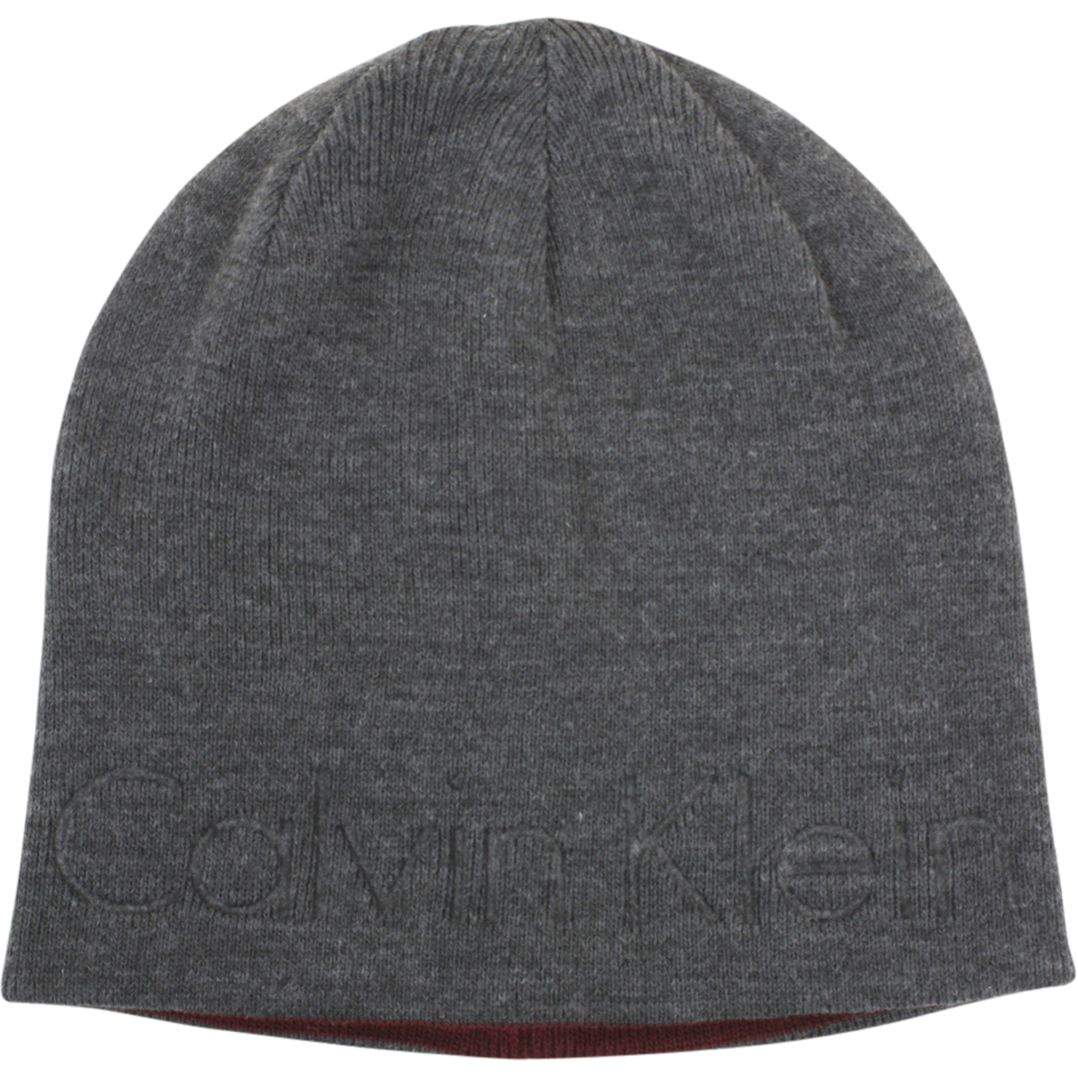 Image of Calvin Klein Men's Embossed Logo Beanie Cap Winter Hat (One Size Fits Most) - Grey - One Size Fits Most