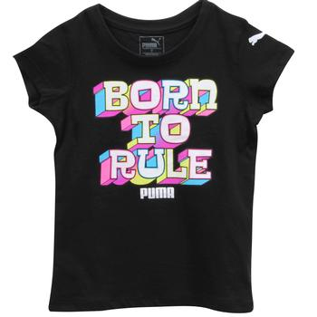 Puma Little Girl's Born To Rule Black Cotton Short Sleeve T-Shirt  UPC: