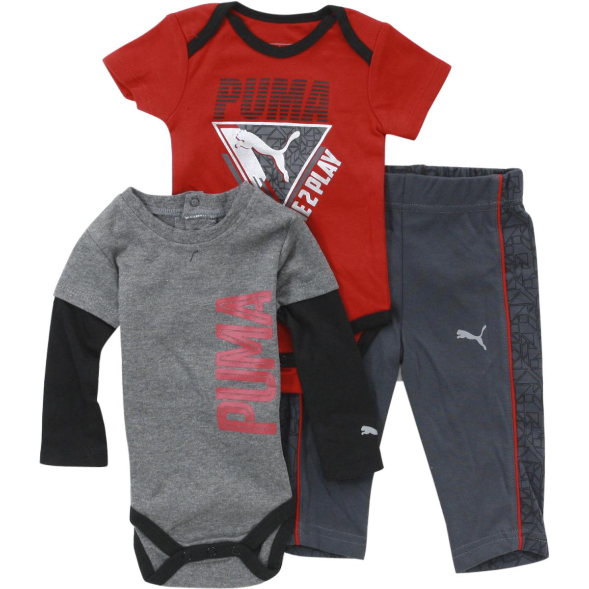 Puma Infant Boy s Forever Faster 3 Piece Newborn Bodysuit Pant Set