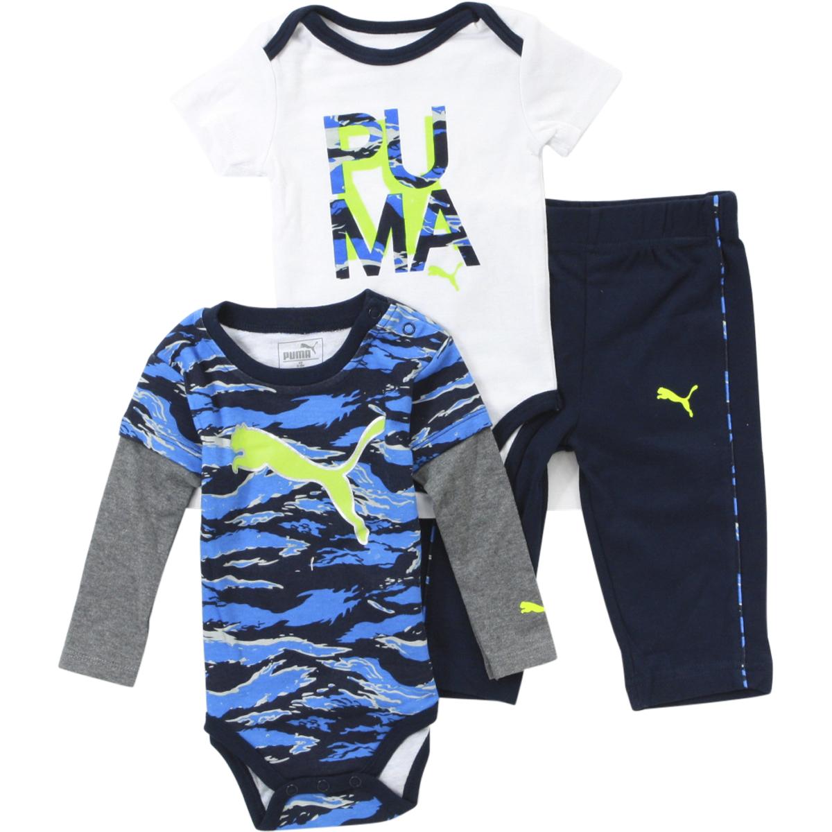 Puma Infant Boy s Cat Logo 3 Piece Newborn Bodysuit Pant Set