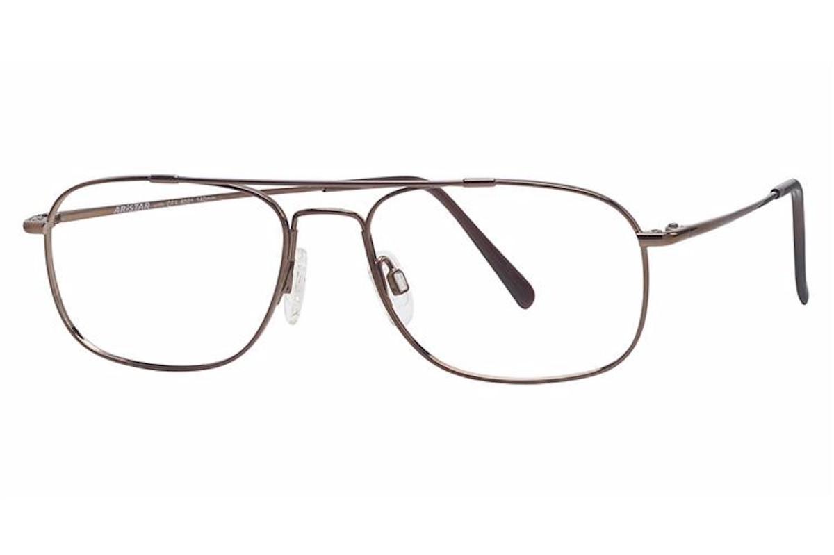 Image of Aristar by Charmant Men's Eyeglasses AR6021 AR/6021 Full Rim Optical Frame - Brown   035 - Lens 55 Bridge 16 Temple 145mm