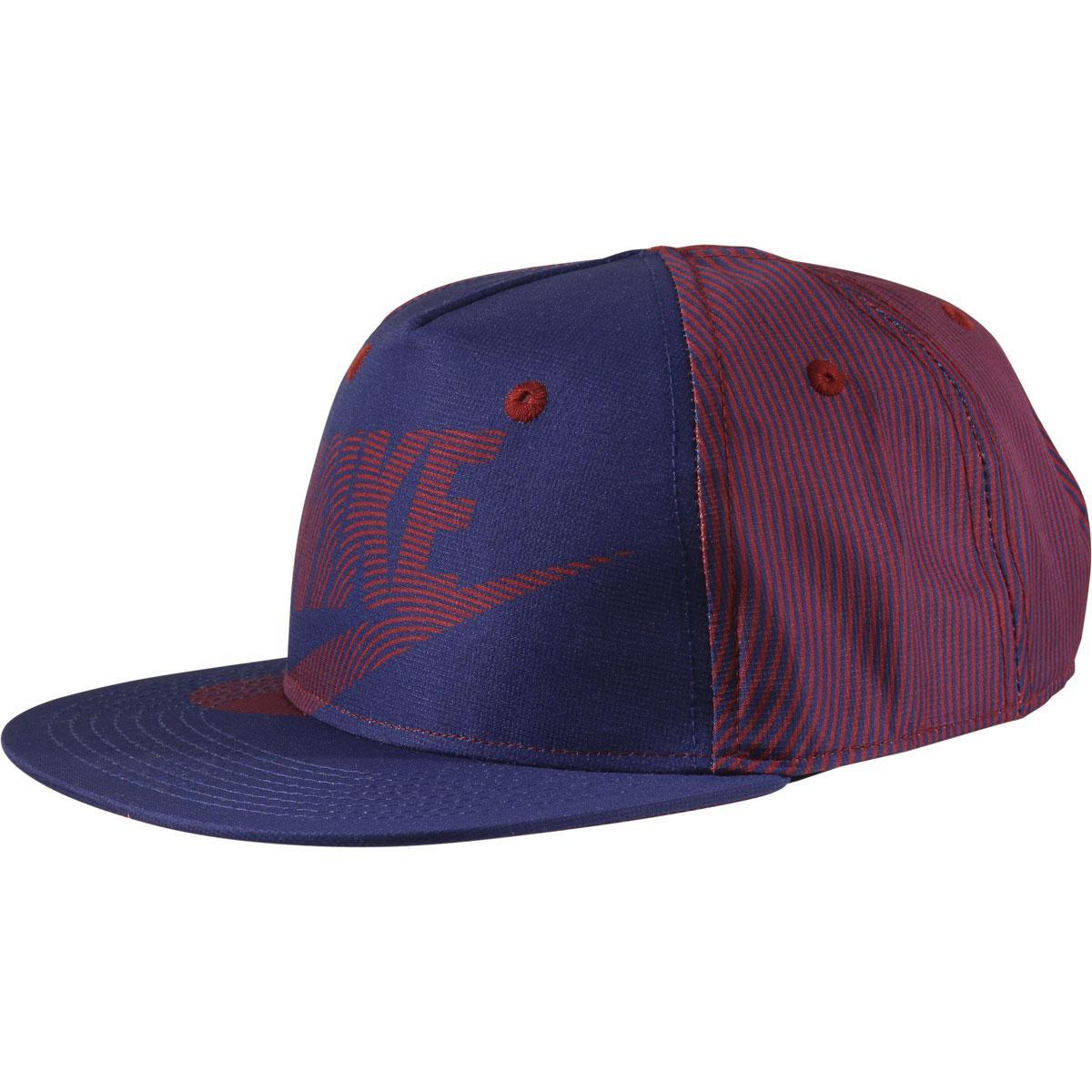 Image of Nike Boy's Futura Print Flat Brim Snapback Baseball Cap Hat - Dark Royal Blue - 4/7