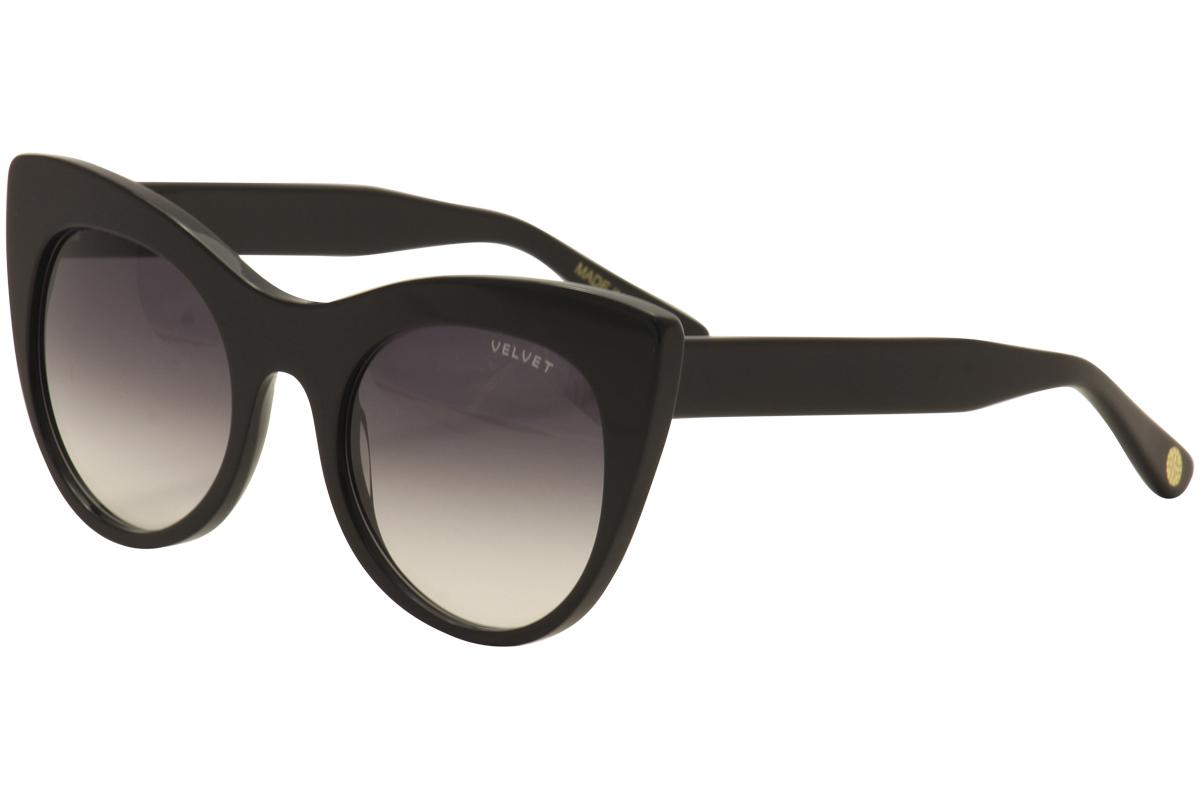 Image of Velvet Women's Michelle V025 V/025 Fashion Cat Eye Sunglasses - Black - Lens 49 Bridge 21 Temple 140mm