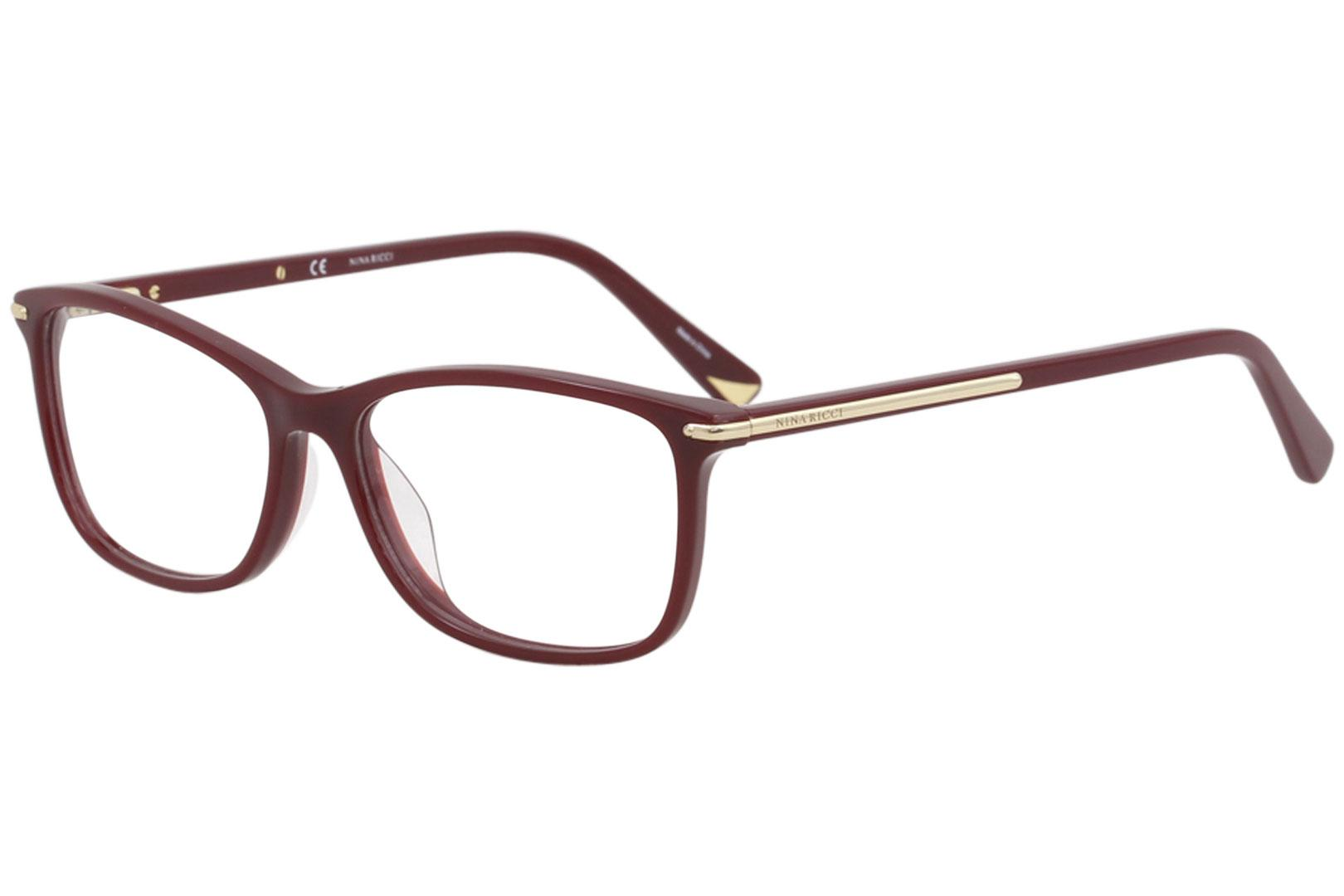 Image of Nina Ricci Eyeglasses VNR038N VNR/038/N 08DU Shiny Burgundy Optical Frame 53mm - Shiny Burgundy   08DU - Lens 53 Bridge 15 Temple 140mm