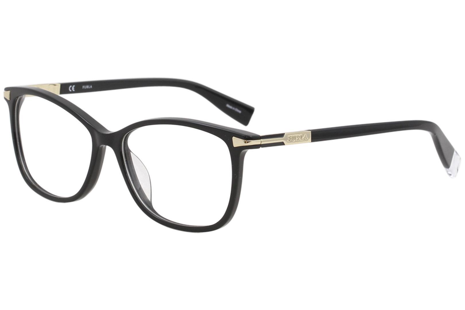 Image of Furla Women's Eyeglasses VFU026 VFU/026 700Y Black Full Rim Optical Frame 54mm - Black   700Y - Lens 54 Bridge 15 B 40 ED 58 Temple 135mm
