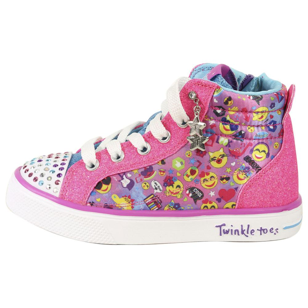 Skechers LittleBig Girl's Twinkle Breeze 2 Emoji Magic Light Up Sneakers Shoes