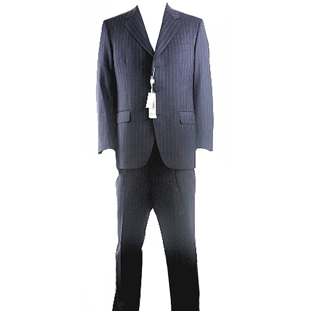 Image of Gianfranco Ferrre Suit Men's 3 buttons Navy/Stripes Wool 1 Back Vent - Blue - US 40; EU 50