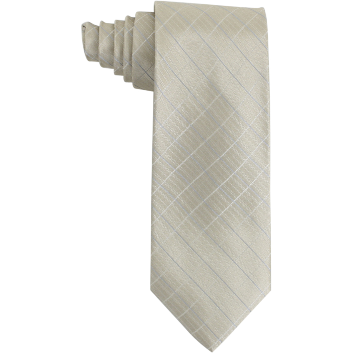 Image of Calvin Klein Men's Silk Etched Windowpane Pattern Tie - Yellow - 3 Inch