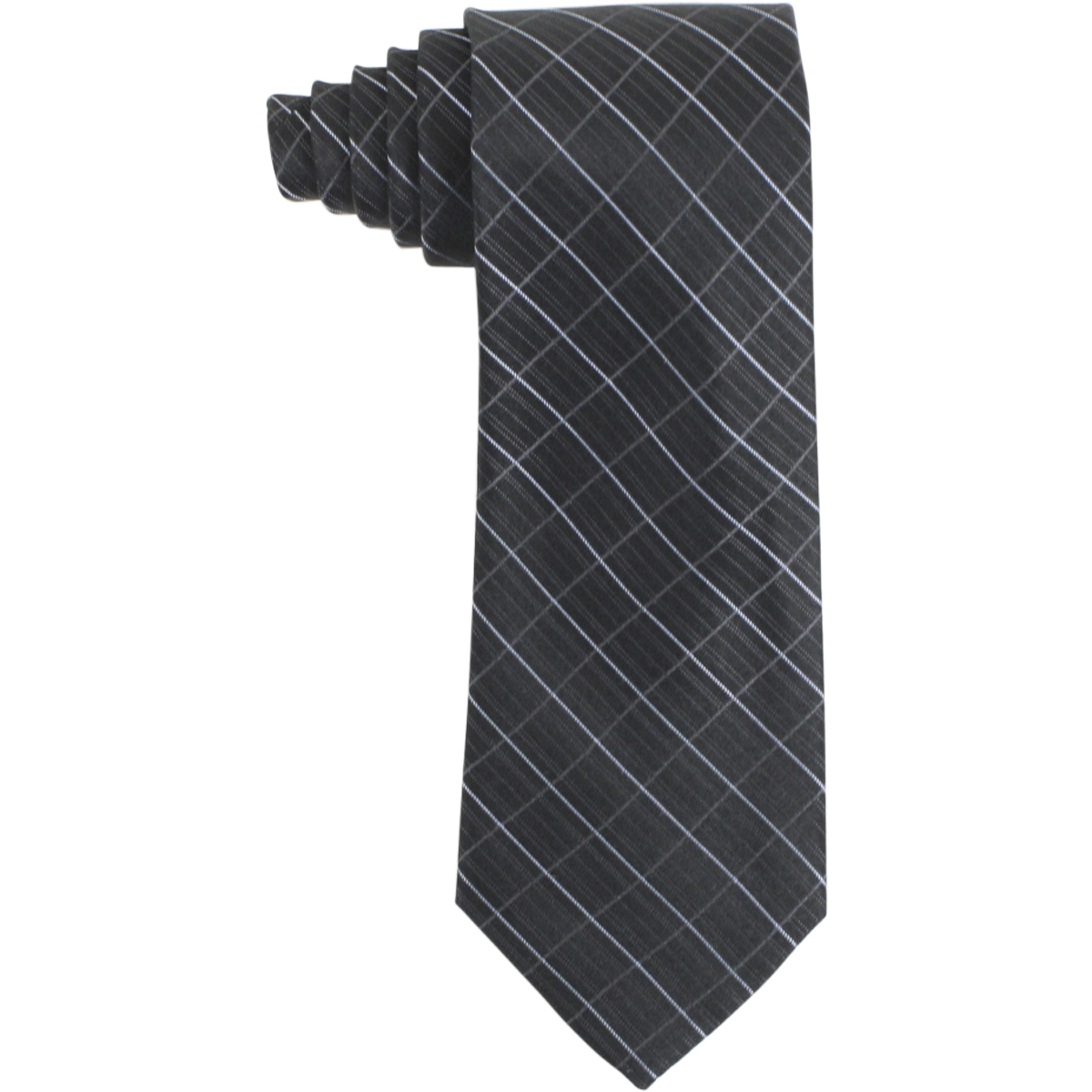 Image of Calvin Klein Men's Silk Etched Windowpane Pattern Tie - Black - 3 Inch