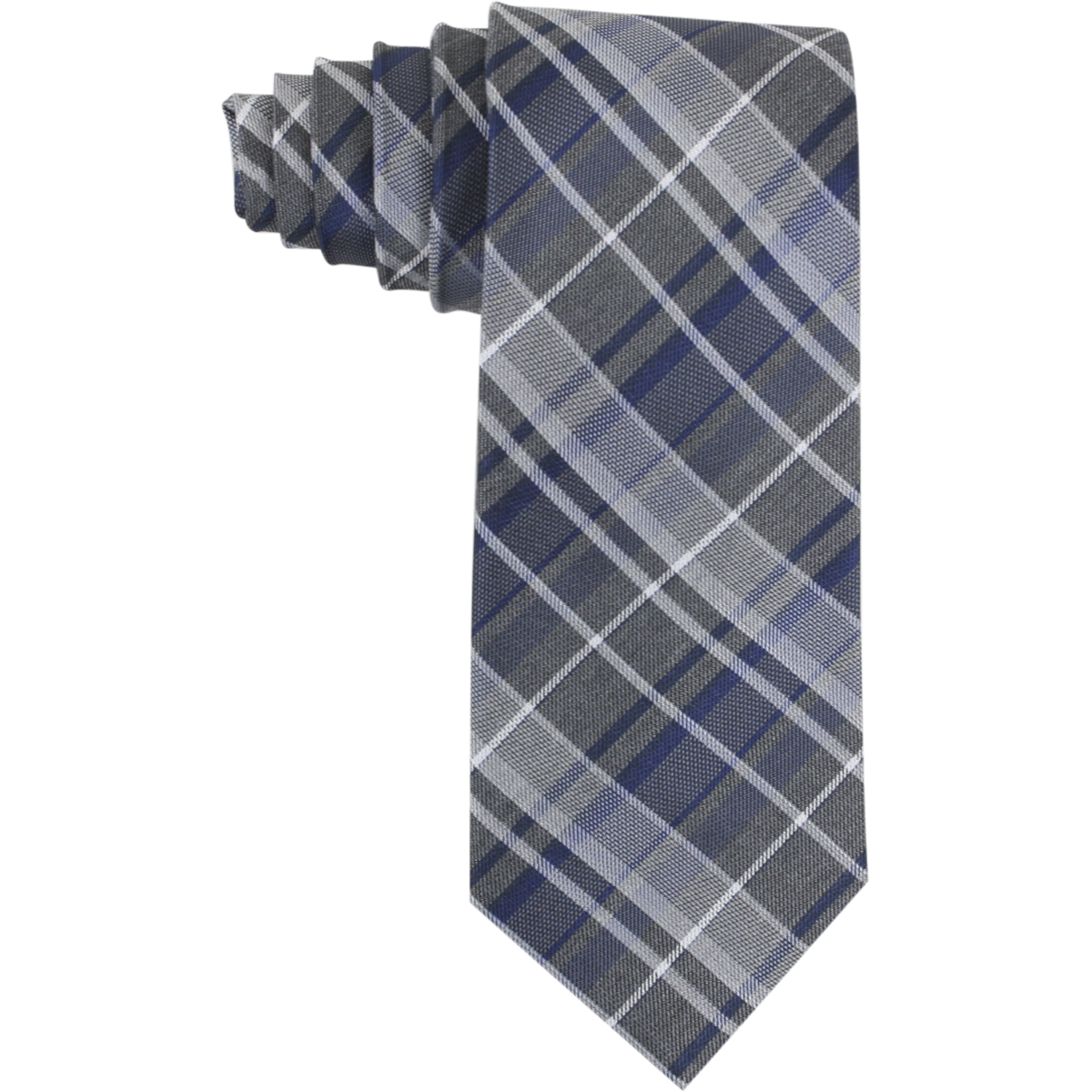 Image of Calvin Klein Men's Graphite Schoolboy Plaid Tie - Blue - 3 Inch