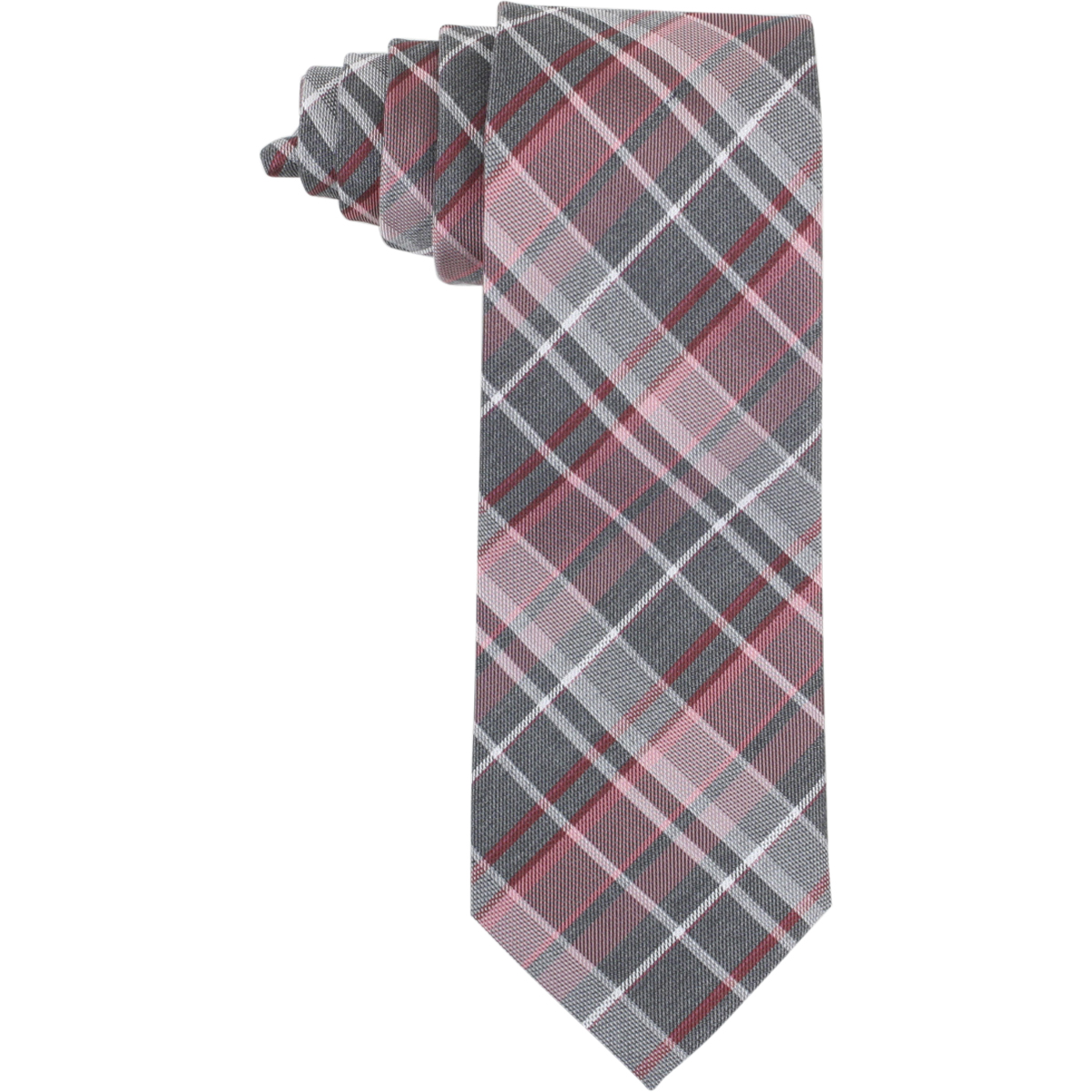 Image of Calvin Klein Men's Graphite Schoolboy Plaid Tie - Red - 3 Inch