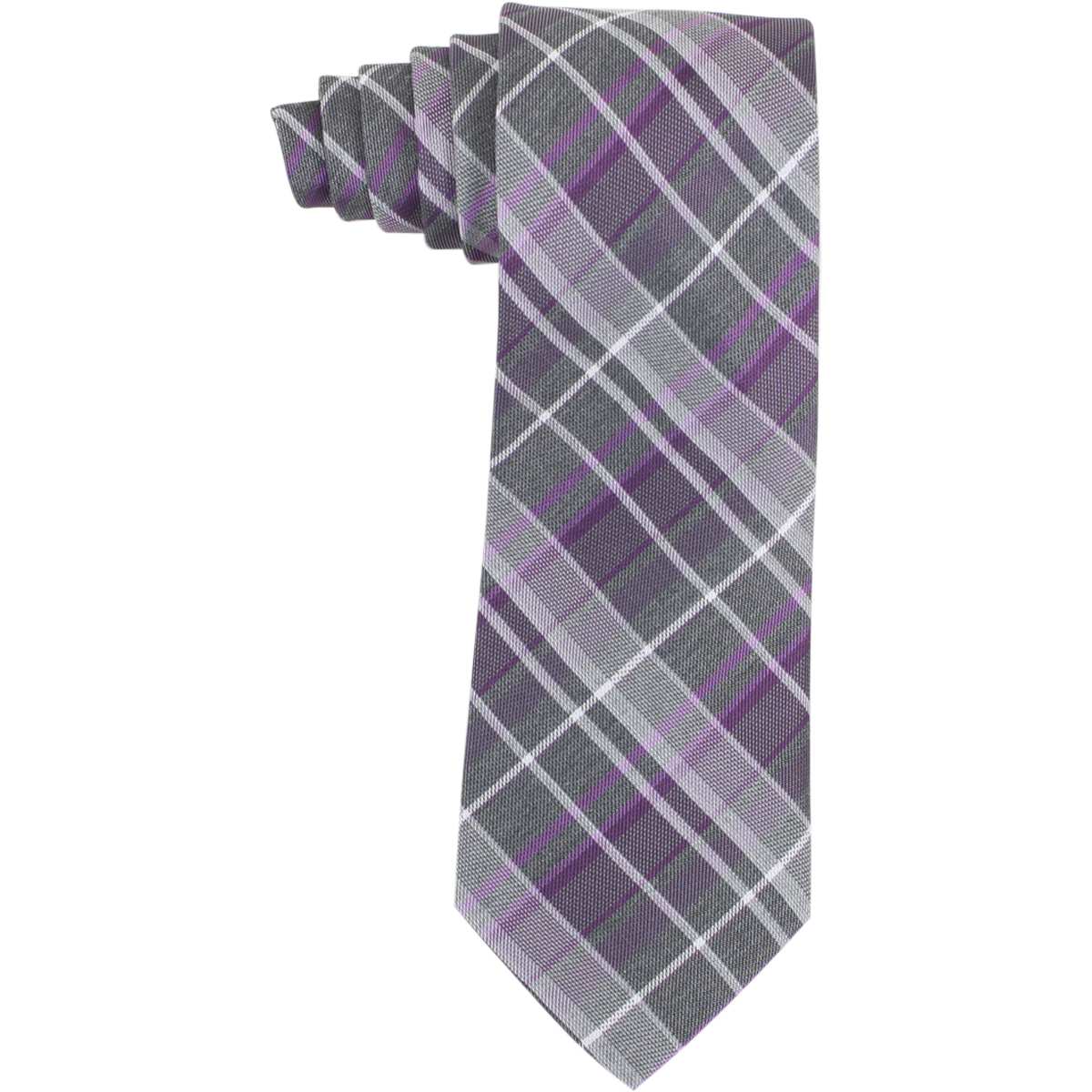 Image of Calvin Klein Men's Graphite Schoolboy Plaid Tie - Fuchsia - 3 Inch