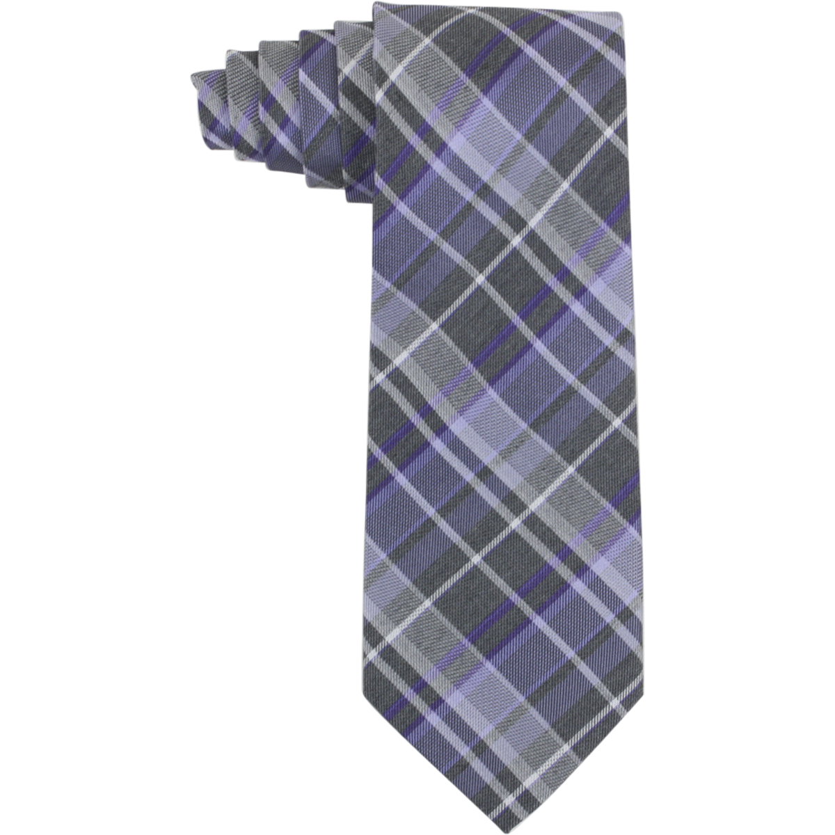 Image of Calvin Klein Men's Graphite Schoolboy Plaid Tie - Purple - 3 Inch