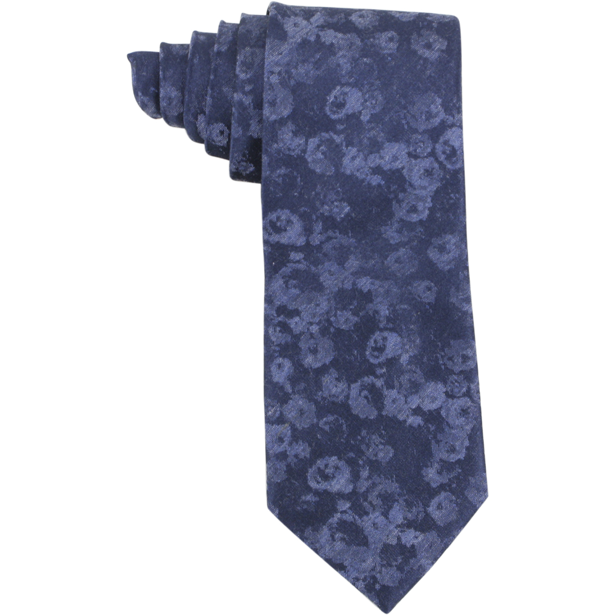 Image of Calvin Klein Men's Melange Rose Bouquet Floral Print Tie - Blue - 3 Inch