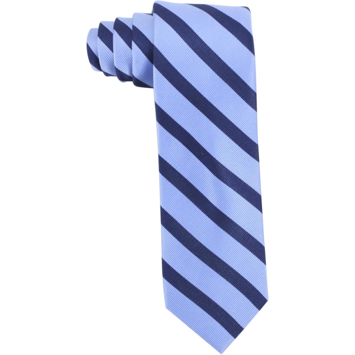 Image of Tommy Hilfiger Men's Silk Slide Stripe Print Tie - Light Blue - 2.50 Inch