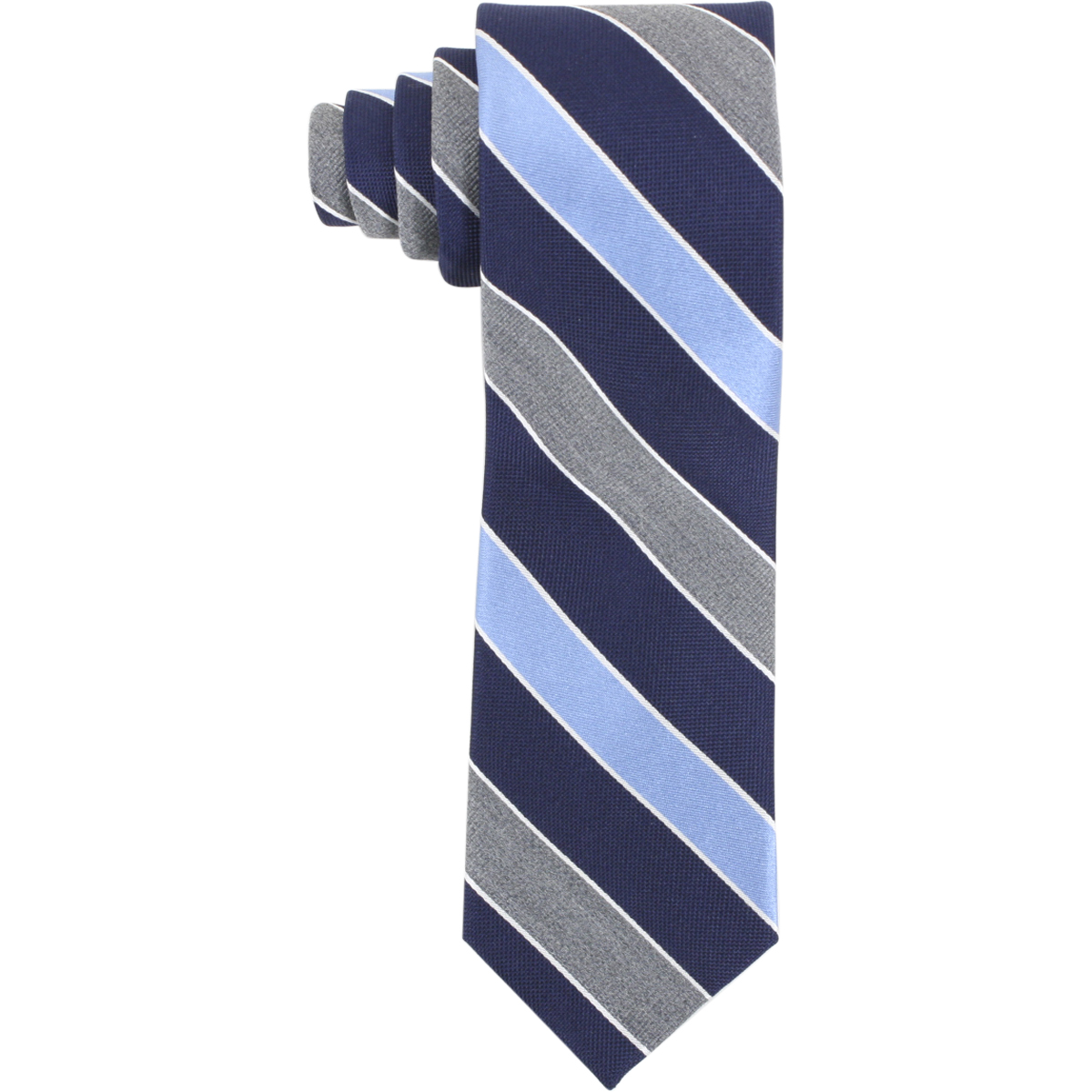 Image of Tommy Hilfiger Men's Contrasting Heather Stripe Print Tie - Blue - 2.75 Inch