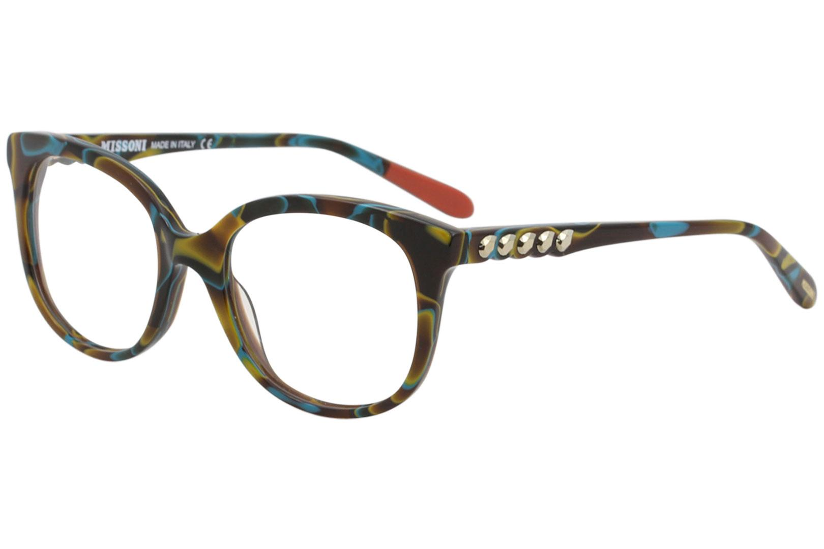 Image of Missoni Women's Eyeglasses MI313V MI/313/V Full Rim Optical Frame - Yellow W/Crystal Accents   04 -  Lens 53 Bridge 19 Temple 140mm