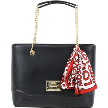 Love Moschino Women's Logo Plaque Chain Handle Shoulder Tote Handbag W/Scarf