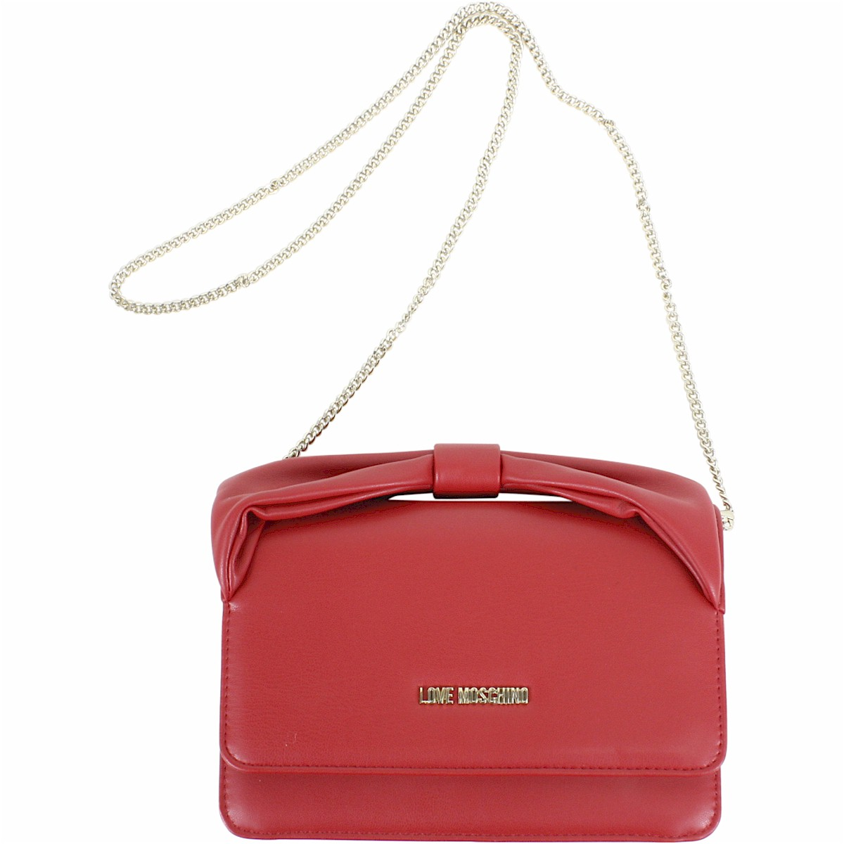 Image of Love Moschino Women's Bow Handle Flap Over Chain Crossbody Handbag - Red - 5.5H x 8.5L x 2D in