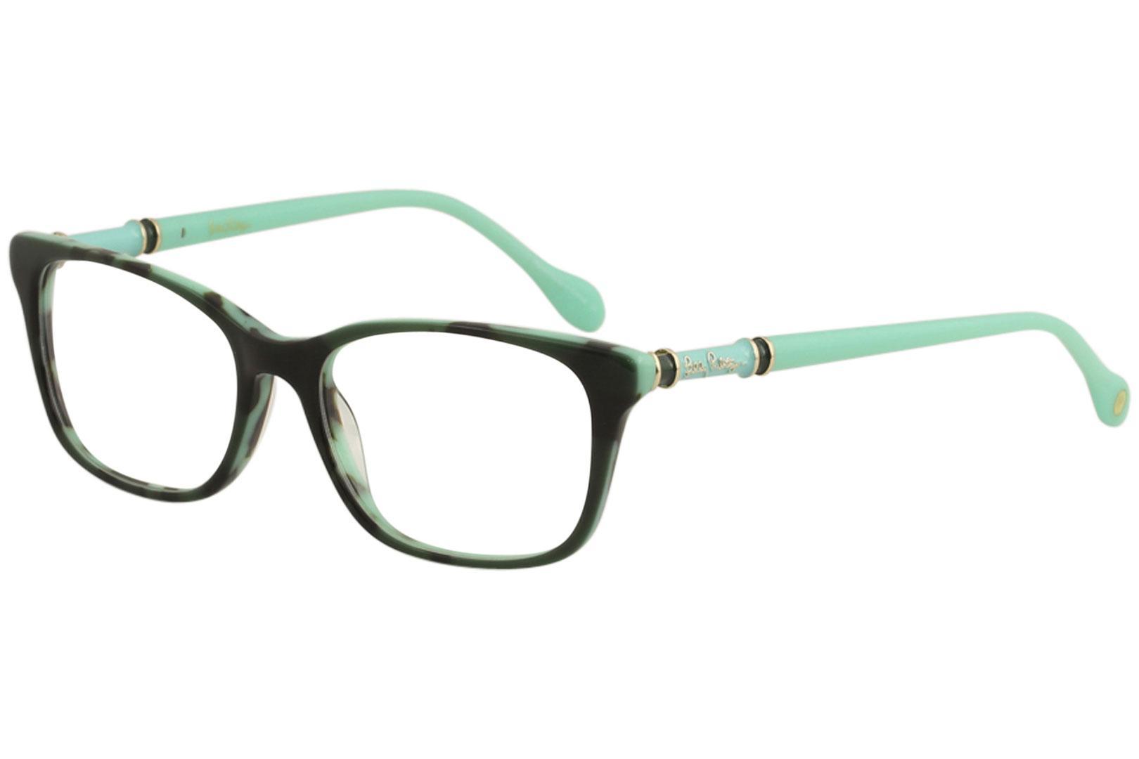 Image of Lilly Pulitzer Women's Eyeglasses Bailey Full Rim Optical Frame - Green/Tortoise   GR - Lens 52 Bridge 16 Temple 140mm