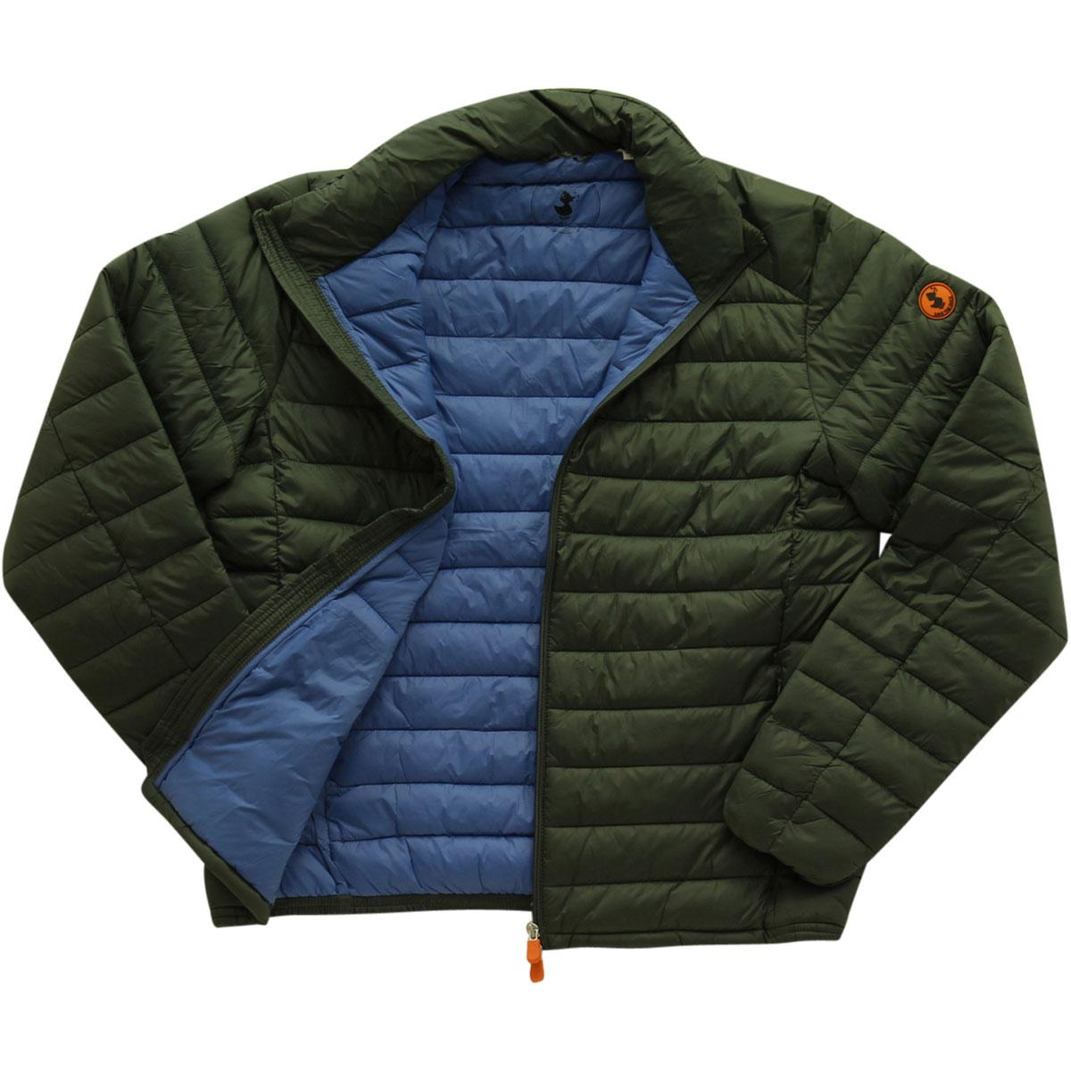 Image of Save The Duck Men's Quilted Polo Neck Long Sleeve Jacket - Deep Green - X Large