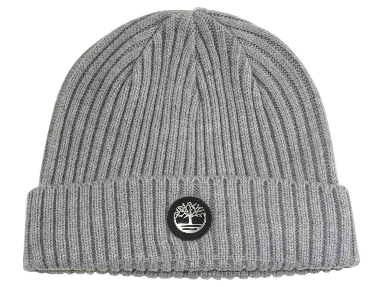 Timberland Men's Logo Plate Ribbed Watch Cap Beanie Hat
