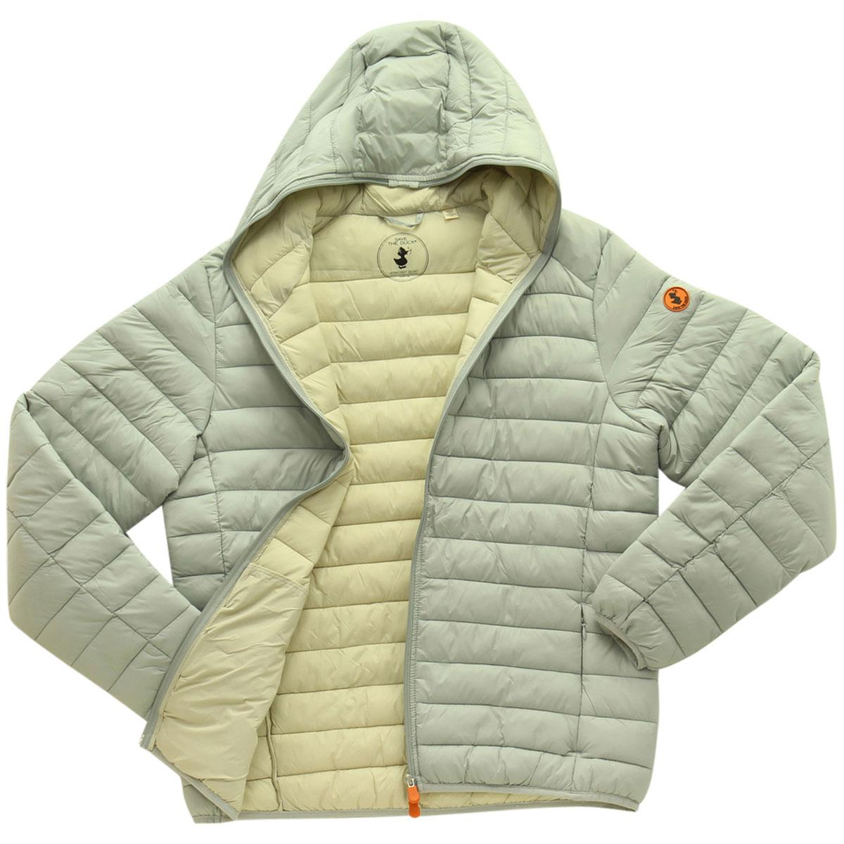 Image of Save The Duck Men's Ultra Light Hooded Long Sleeve Jacket - Frost Grey - Large