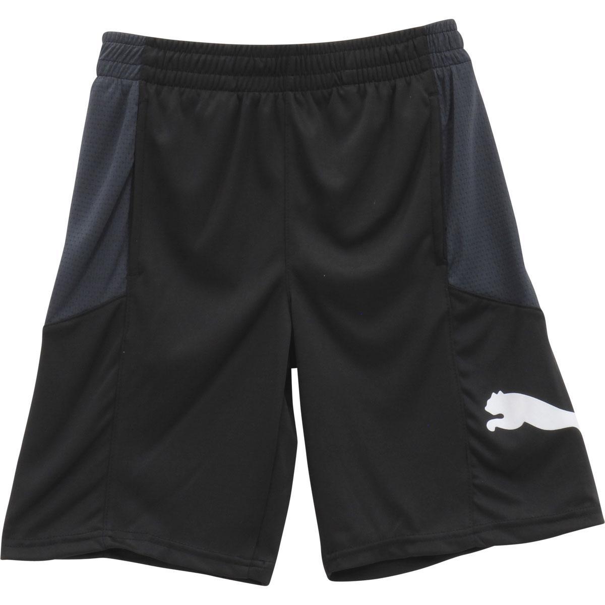 Image of Puma Big Boy's Cat Logo Elastic Waist Mesh Gym Shorts - Black - Medium